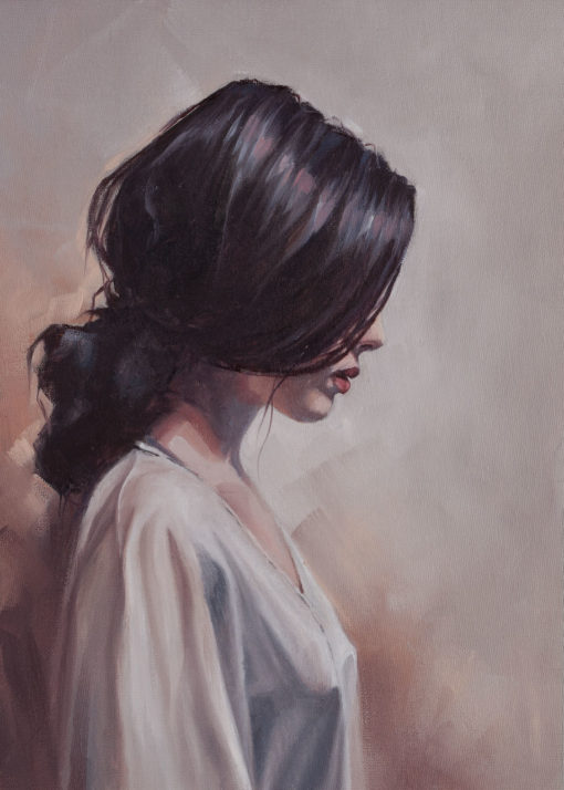 """""""Girl in White"""", oil on canvas, by Wendy Beresford"""