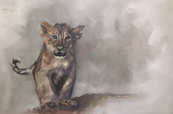 Work in progress of lion cub painting by Wendy Beresford