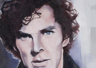 Portrait of Benedict Cumberbatch as Sherlock Holmes, oil on canvas, by Wendy Beresford