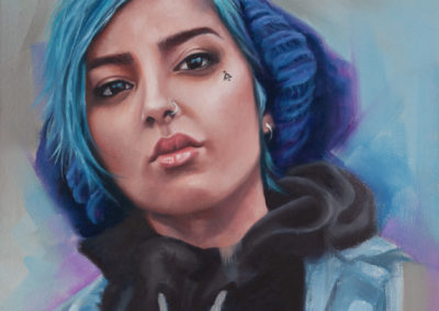 """""""Blue"""", portrait of girl with blue hair, oil on canvas, by Wendy Beresford"""