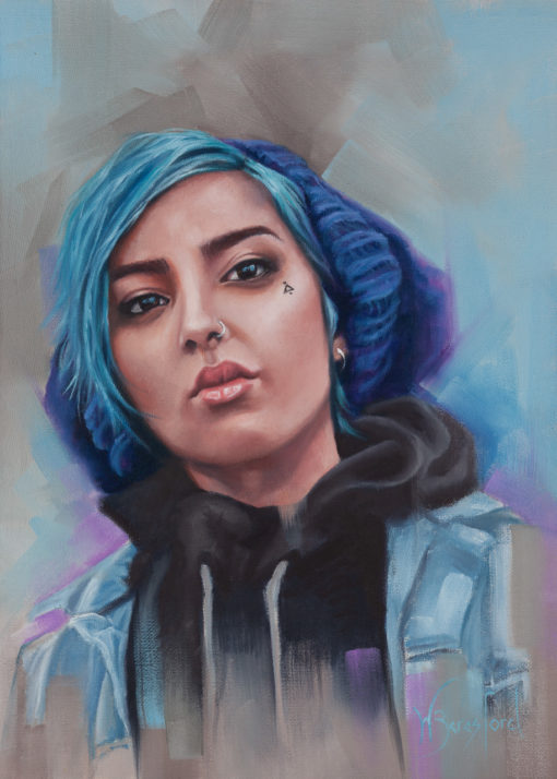 """Blue"", portrait of girl with blue hair, oil on canvas, by Wendy Beresford"