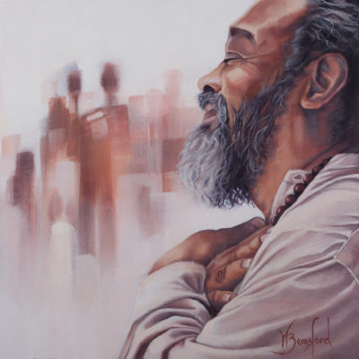 Portrait of Mooji Baba, oil on canvas, by Wendy Beresford