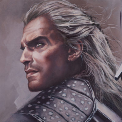 Portrait of The Witcher, oil on canvas, by Wendy Beresford
