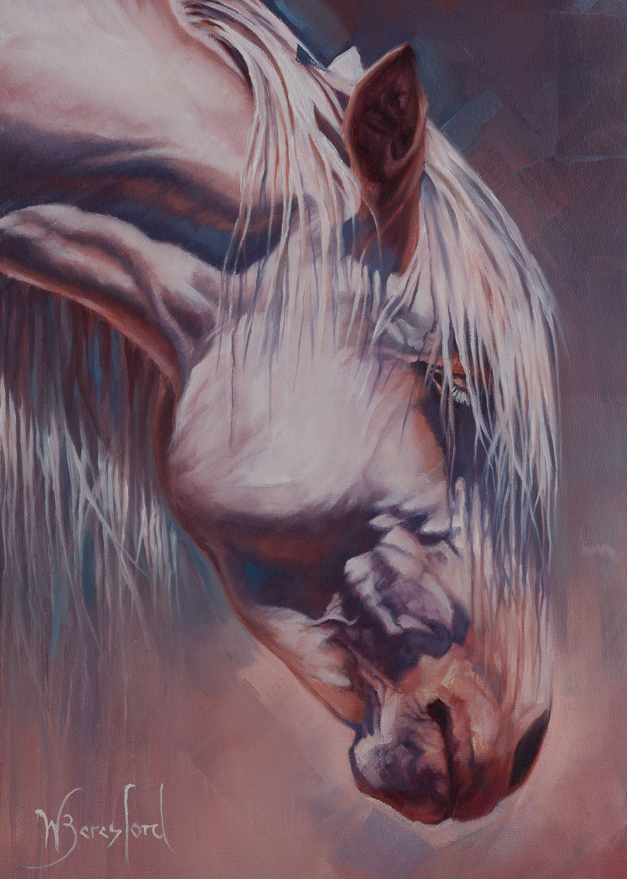 """""""Being"""", oil painting of Arizona wild horse by Wendy Beresford. Photo reference by Robert Rinsem"""