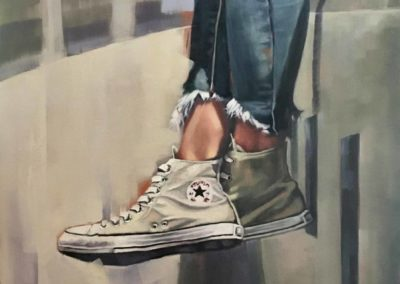 """""""Drop the Pilot"""", original oil painting by Wendy Beresford"""