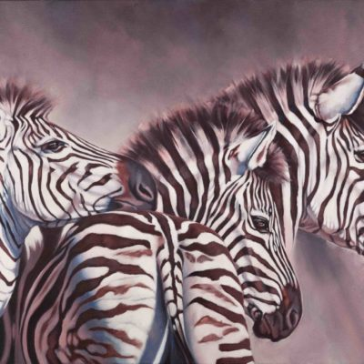 """""""Dawn Rising"""", original oil painting on canvas of three zebra at dawn by Wendy Beresford"""