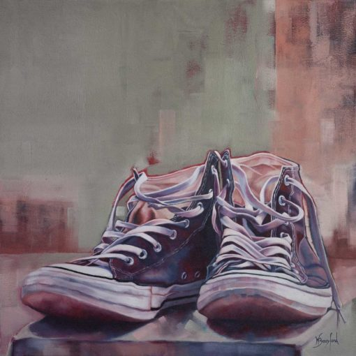 """""""Sole Mates"""", original oil on canvas painting by Wendy Beresford, takkies still life"""