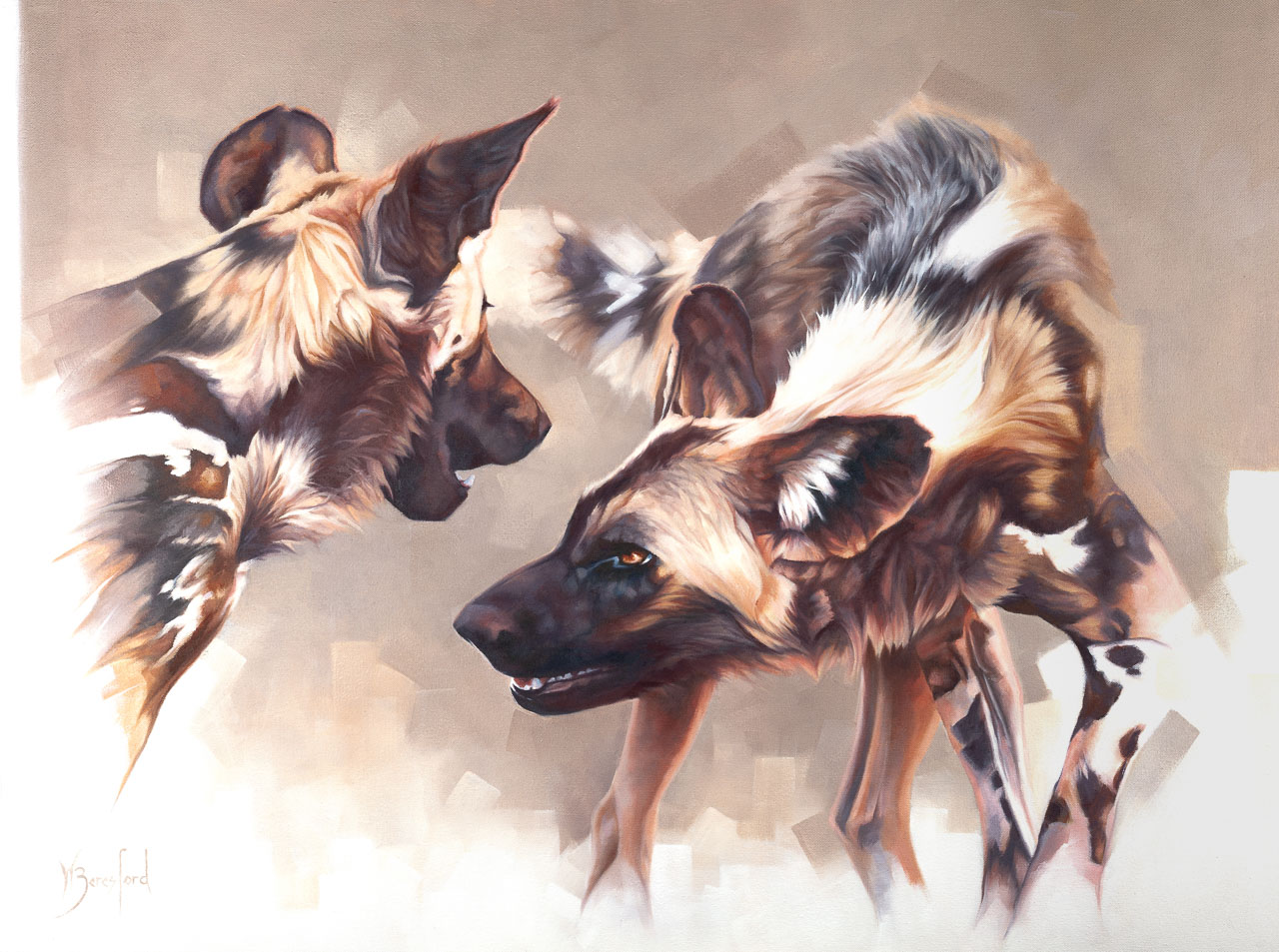 """""""Art of Play"""", original oil painting of two African Wild Dogs, by Wendy Beresford"""